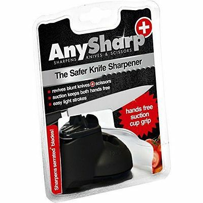 Any Sharp Plus Knife & Scissor Sharpener Hands Free Suction Grip Black 1054
