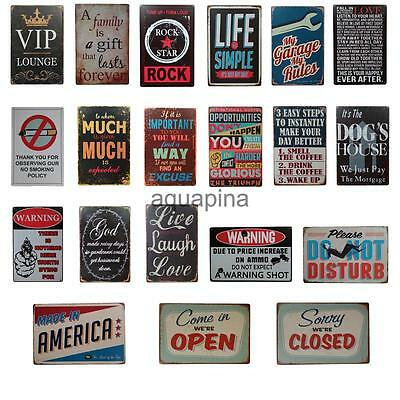 Vintage Style Metal Wall Sign Tin Plaque Shabby Chic Kitchen Picture Retro Decor
