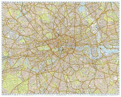 A-Z London Knowledge Map, 2 parts, Flat Encapsulated / Laminated, 200cm x 157cm