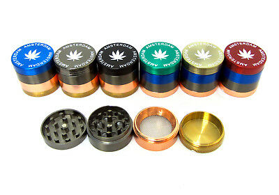 30mm Tobacco Herb Metal Grinder 4 Part Mini Pollinator Crusher Amsterdam Leaf UK