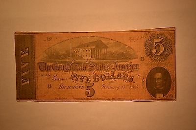 February 17, 1864 Confederate $5 Note- Very Good