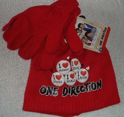 Girls 1 Direction Hat And Glove's Set In Red