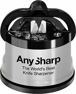 Worlds Best AnySharp Silver Knife Sharpener Hands Free Suction Cup Grip