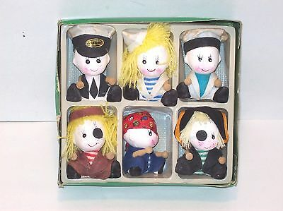 6 Porcelain Ceramic Bisque Miniature Dolls Hand Painted Faces Wood Arms Taiwan