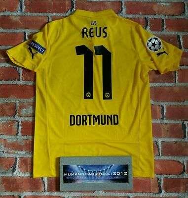 REUS Borussia Dortmund Champions League Jersey 2014 - 2015 WITH PATCHES MEDIUM