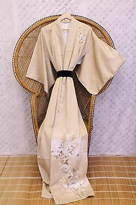 Vintage beige Floral boho 70s Japanese kimono long Jacket or dress S M L
