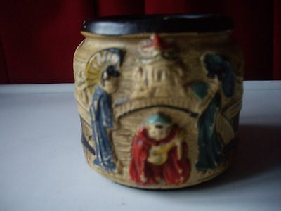 Cyples Old Pottery Embosa Ware Hand Painted Jar