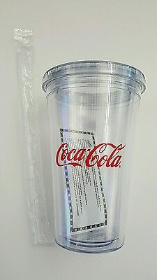 Coca Cola Tumbler - Clear Hard Plastic - Coke Cup With Lid & Straw