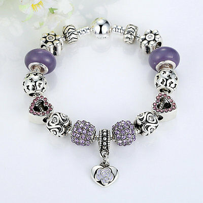 Xmas Sales 925 Silver Purple Murano Glass Crystal Charm Bracelet Chain