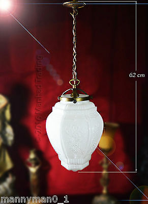 Stunning all original Austrian 1940 Art deco opaline glass ceiling light lantern