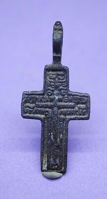 Post Medieval copper alloy crucifix pendant 17th century