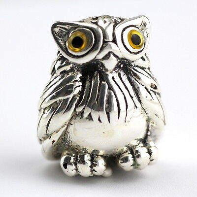 Collectable Victorian Style Owl Figure Glass Eyes 925 Sterling Silver Hallmarked