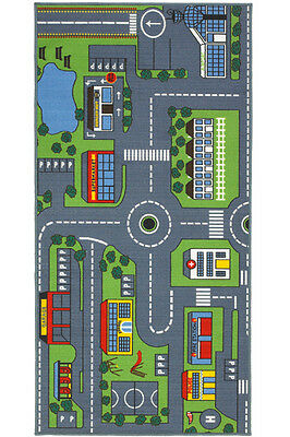 Kids Children Large Road Map Cars Games Play Rug Mat Washable 100 x 200cm