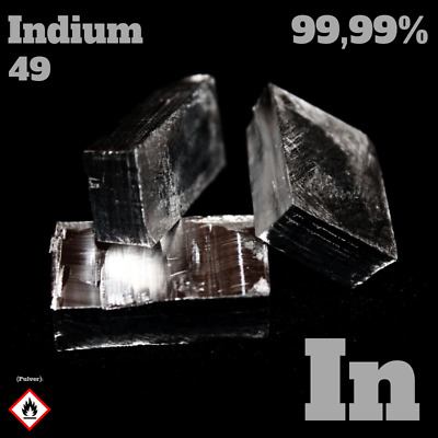 20 g Indium - In 49 - Analyse 99,99% rein - Indium metal / Metall - Element