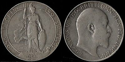 narkypoon 's SCARCE STRONG MIDDLE GRADE 1908 Edward VII STERLING SILVER Florin