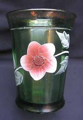 Antique Northwood  Frosted Green Glass Pretty Panels with Enamel Flowers Tumbler