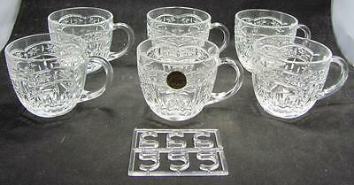 Cristal D'arques France Set Of 6 Crystal Cups With Hooks New Old Stock 266-111F