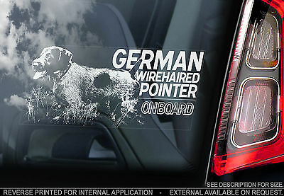 German Wirehaired Pointer - Car Window Sticker - Wire-haired Dog on Board Sign