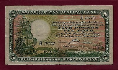 South Africa 5 Pounds 1944 P-86 VF RARE