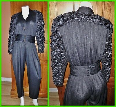 Vtg 80s Lace Ribbon Embroidery DISCO Cocktail Evening dress JUMPSUIT ROMPER ML