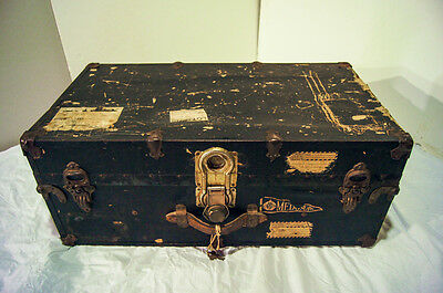 Vintage Antique Steamer Travel Luggage Hard Case Treasure Storage Trunk Chest