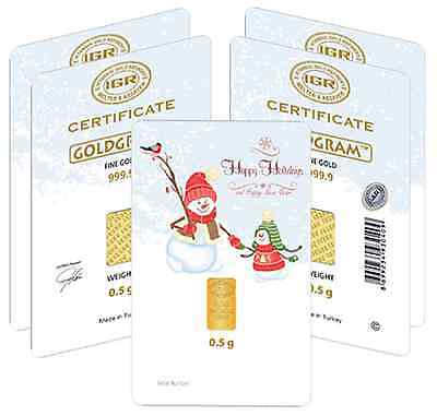 Lot of 5 - 1/2 gram Happy Holidays Istanbul Gold Refinery (IGR) Bar .9999