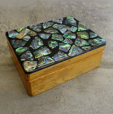 Vintage Genuine Paua Shell Wooden Box Made in New Zealand with original stickers