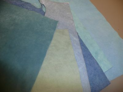 7 Pieces of Blue Velveteen Upholstery Material for Teddy Bear Making