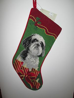 BLACK WHITE SHIH TZU Candles  Dog Handmade Needlepoint Stocking NWT