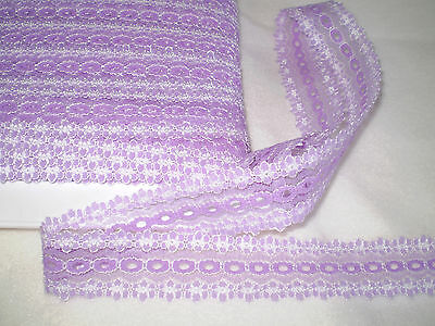 knitting in/coathanger/ eyelet lace 10 metres x 3.5 wide lilac/white
