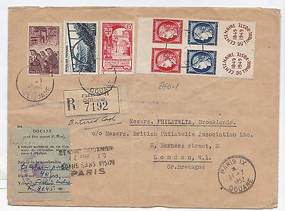 """France.1952 Cover To Uk With Sg.1061-1064 """"stamp Centenary"""" Mini Sheet Imperf"""