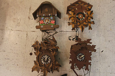 Vintage Cuckoo clocks lot of 4pc for parts or refurbished