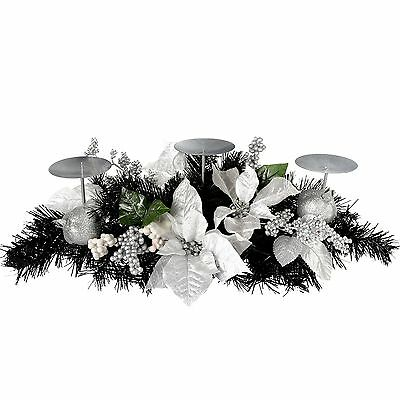 WeRChristmas 52 cm Decorated Table Centre Piece with 3 Pillar Candle Holder C...