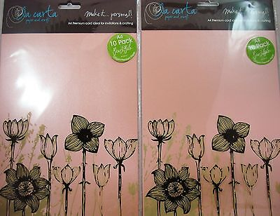 2 x 10pk A4 Premium 120gsm Card Paper Pearl Pink Craft DIY FREE POSTAGE