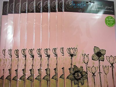 10 x 10pk A4 Premium 120gsm Card Paper Pearl Pink Craft DIY FREE POSTAGE