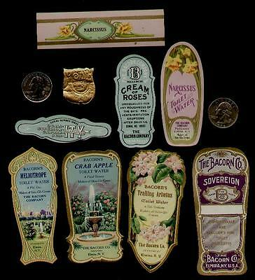 9 - BACORN'S BEAUTY LABELS 1900's / GOLD GLIT-FLOWER-PERFUME    H-277