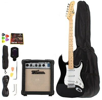 Maple Fingerboard Electric Guitar with Amp Turner Bag Accessories Monochrome