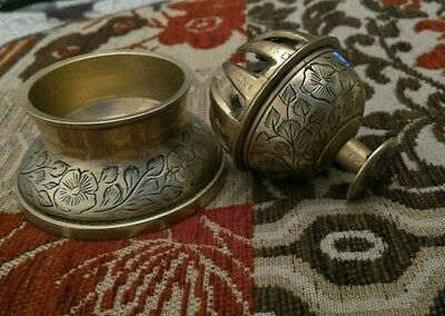 Vintage brass Indian temple claw bell with stand and clapper