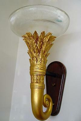 "HUGE!  15"" x 23""  ELEGANT! GOLD TORCH SCONCE ~ HEAVY REFLECTIVE GLASS SHADE"