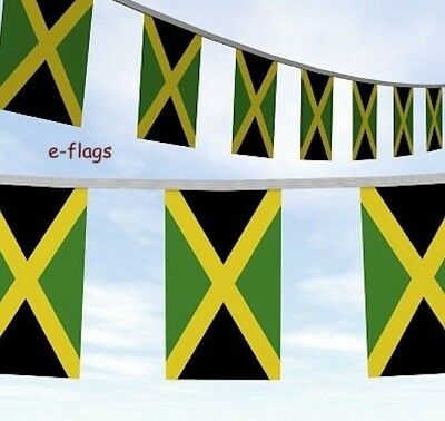 33Ft Of Jamaica Flag Bunting Bob Marley Rasta Roots Reggae Caribbean