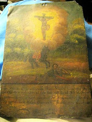 Original Antique Exvoto On Tin Man On Horse And One Man Laying In The Ground