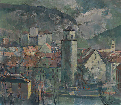 Art Hand painted oil painting old town landscape nice buildings free shipping