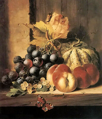 Oil painting still life of fruit with insect butterfly free shipping on canvas