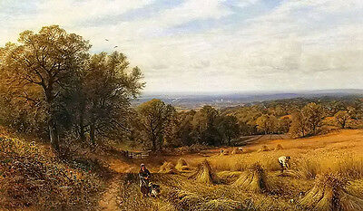 Oil painting alfred glendening - harvest time beautiful landscape hand painted