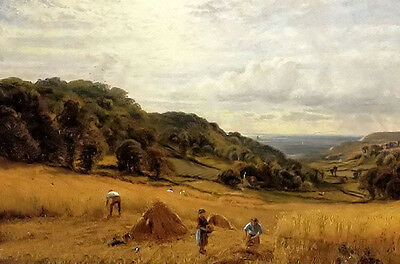Oil painting alfred glendening - harvesting at luccombe, isle of wight landscape