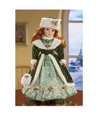 """Victorian Winter Kate Collectible Porcelain Doll 16"""" Fur Green Dress Red hair"""