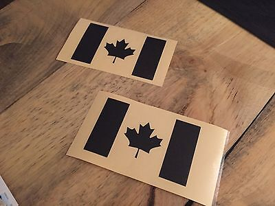 Pair Of Black REFLECTIVE Canadian flag jeep Decal Sticker
