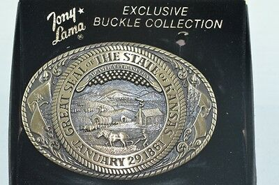 Tony Lama State Seal Series 1st Edition Belt Buckle 70's Brass Box Kansas
