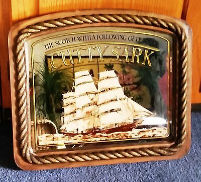 VINTAGE Cutty Sark Scotch Whisky Advertising Mirror Sign UNIQUE Faux Wood Frame