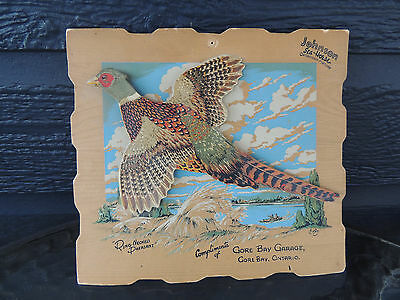 Johnson Sea Horse antique advertising sign w/ Ring-Necked Pheasant Gore Bay Ont